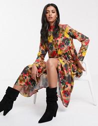 Lost Ink Oversized Smock Dress In Floral Multi