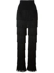 Norma Kamali Layered Fringed Leggings Black