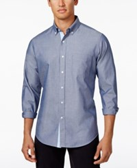 Club Room Men's Solid Oxford Cotton Shirt Only At Macy's Fresh Indigo