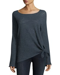 Minnie Rose Knotted Linen Blend Pullover Top Navy