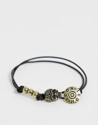 Icon Brand Rolled Leather Bracelet With Gold Details In Black