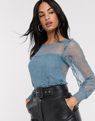 River Island Long Sleeve Shirred Lace Top In Blue