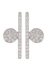 Bony Levy 18K White Gold Pave Diamond Abstract Geo Earrings 0.22 Ctw