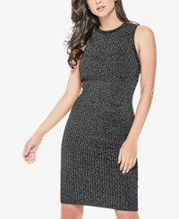 Guess Nathalie Shimmer Lace Up Sweater Dress Jet Black Multi