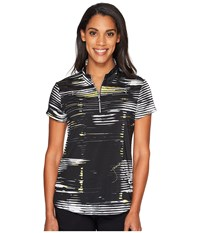 Jamie Sadock Staccato Print Above Elbow Short Sleeve Top Jet Women's Clothing Black