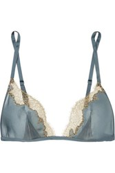 Carine Gilson Chantilly Lace Trimmed Silk Soft Cup Triangle Bra Blue