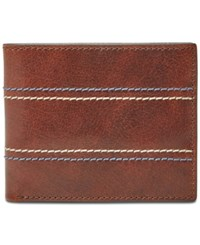 Fossil Men's Reese Bifold Flip Id Leather Wallet Brown