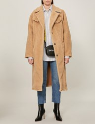 Off White C O Virgil Abloh Textured Faux Fur Teddy Coat Camel White