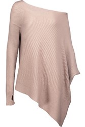 Kaufman Franco Kaufmanfranco One Shoulder Asymmetric Ribbed Merino Wool Sweater Taupe