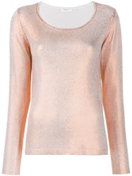 Majestic Filatures Metallic Knitted Top Orange