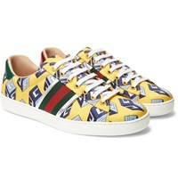 Gucci Ace Metallic Leather Trimmed Printed Satin Sneakers Yellow