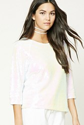 Forever 21 Iridescent Sequin Boxy Top White Pink