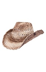 Peter Grimm Ford Straw Drifter Hat Brown Tea Stain