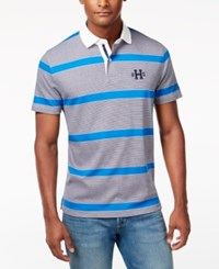 Tommy Hilfiger Men's Teague Striped Polo Nautical Blue