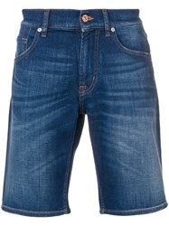 7 For All Mankind Short Denim Shorts Blue