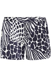 Equipment Landis Animal Print Washed Silk Shorts Midnight Blue