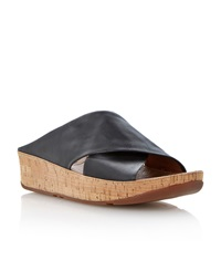 Fitflop Kys Leather Round Toe Crossover Wedge Sandals Black Leather