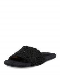 Dries Van Noten Flower Embroidered Flat Mule Slide Black