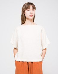 Black Crane Linen Square Top In Cream