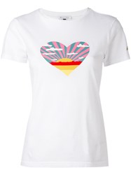 Bella Freud Sunset Heart T Shirt Women Cotton Xs White