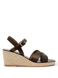 A.P.C. Judith Leather Wedge Sandals Khaki