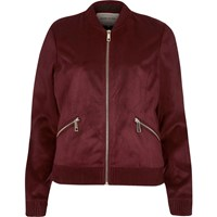 River Island Womens Dark Red Faux Suede Bomber Jacket