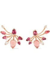 Fernando Jorge Calyx 18 Karat Gold Multi Stone Earrings Rose Gold