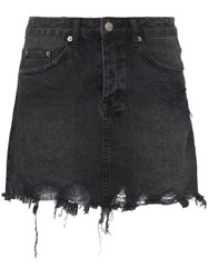 Ksubi Mini Moss Distressed Denim Mini Skirt Black