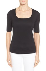 Women's Lafayette 148 New York Swiss Cotton Rib Square Neck Tee Black