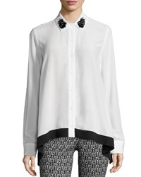 Zac Posen Gemma Long Sleeve Blouse Bone