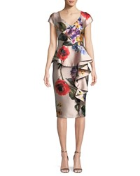 David Meister Floral V Neck Asymmetric Ruffle Dress Pink
