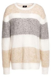 Line Woman Striped Brushed Intarsia Knit Sweater Ivory