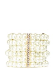 Kenneth Jay Lane Glass Pearl Crystal Pave Gold Plated Bracelet White