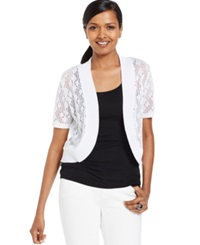 Ny Collection Petite Pointelle Short Sleeve Bolero Cardigan White