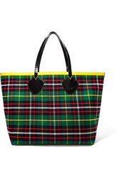 Burberry Reversible Leather Trimmed Tartan Cotton Twill Tote Green