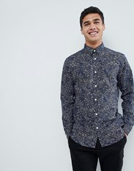 Selected Homme Shirt With All Over Print In Slim Fit Night Sky Navy