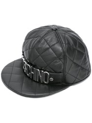 Moschino Quilted Snap Back Logo Cap Black