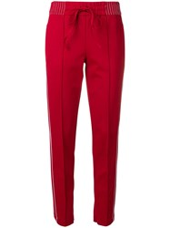 Cambio Side Stripes Slim Fit Trousers Red