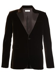 Saint Laurent Velvet Single Breasted Blazer Brown