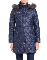 Guess Faux Fur Trimmed Quilted Jacket Indigo Blue