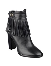 Ivanka Trump Preta Fringed Leather Ankle Booties Black