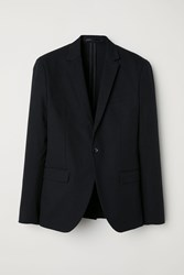 Handm Slim Fit Linen Blend Blazer Black