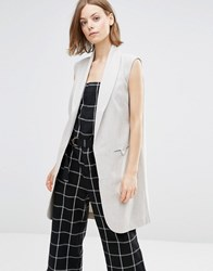 Shades Of Grey Sleeveless Coat Light Herringbo Grey