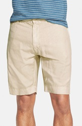 Faherty 'Beach' Washed Cotton And Linen Shorts Beige Khaki