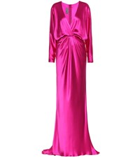 Monique Lhuillier Silk Satin Gown Pink