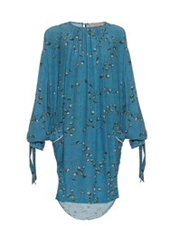 Preen Line Balloon Sleeve Daisy Print Crepe Dress Blue