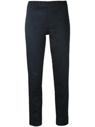 P.A.R.O.S.H. Slim Fit Straight Trousers Women Cotton Spandex Elastane L Blue