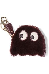 Anya Hindmarch Ghost Leather Trimmed Shearling Keychain Merlot