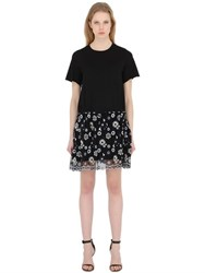 See By Chloe Scalloped Cotton Jersey And Poplin Dress