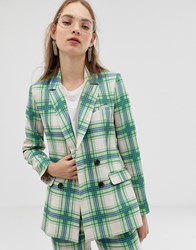 Asos Design Suit Blazer In Printed Check Multi